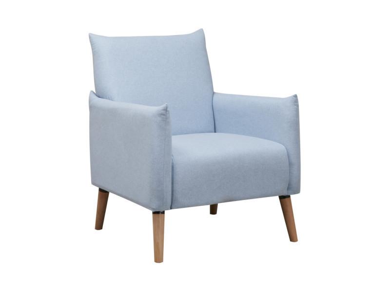 Fauteuil scandinave tissu et pieds bois julius couleur bleu