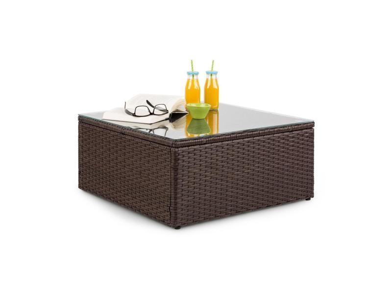 Blumfeldt theia table de salon de jardin élégante avec plateau en verre - design polyrotin tressé marron GDMC5-Theia Table BR