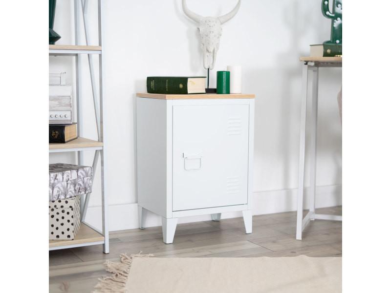 Chevet industriel bois et métal 1 porte blanc