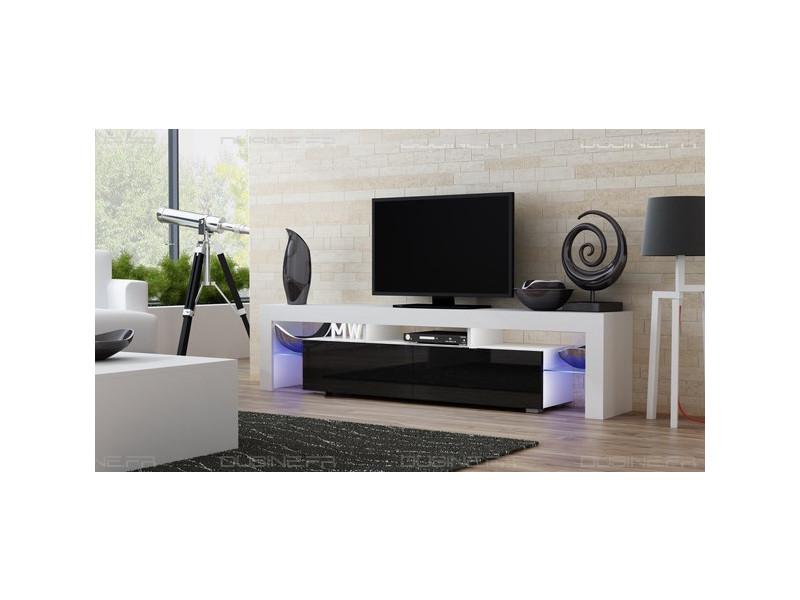 Meuble tv spider big à led en blanc mat avec portes noir laqué 200 cm