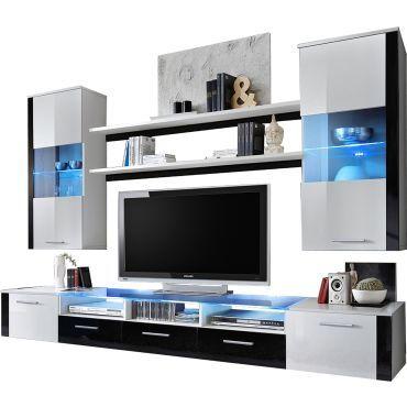 ensemble suspendu led 250 cm avec meuble tv 2 vitrines 2 tag res coloris blanc et noir p. Black Bedroom Furniture Sets. Home Design Ideas