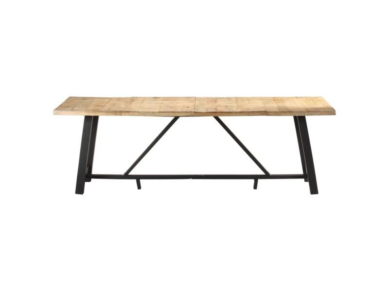 Vidaxl table de salle à manger 240x100x76 cm bois de manguier brut 323544