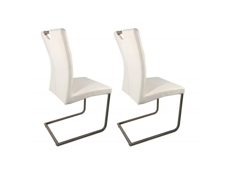 Lot 2 chaises design blanches en simili cuir - adriana