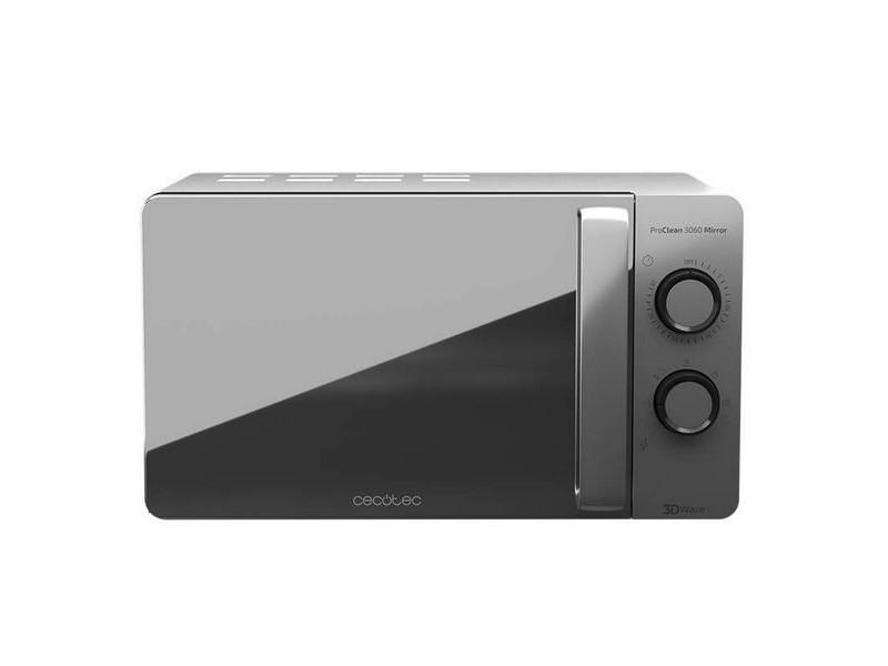 Micro-ondes à plateau tournant 20 l 700w argenté - 6 niveaux et finition miroir