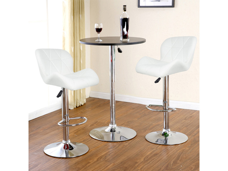 Hombuy®4 x tabouret de bar maison petit déjeuner table pivotante réglable en hauteur blanc