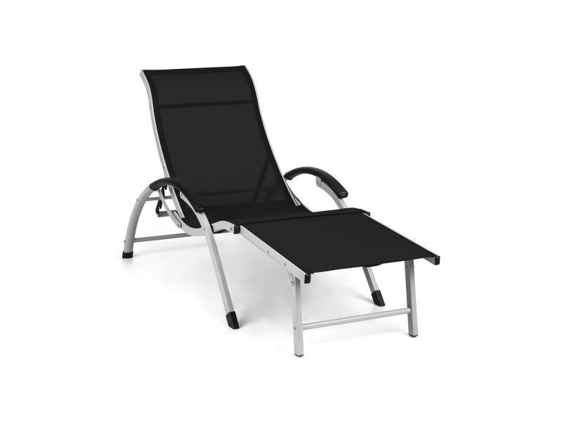 Blumfeldt sunnyvale - chaise longue avec repose-pieds en aluminium , 4 positions de dossier - noir GDMC2-Sunnyvale-BK