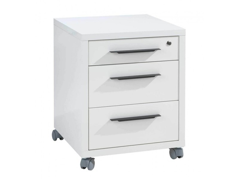 Caisson de rangement à roulettes 3 tiroirs blanc laqué - net