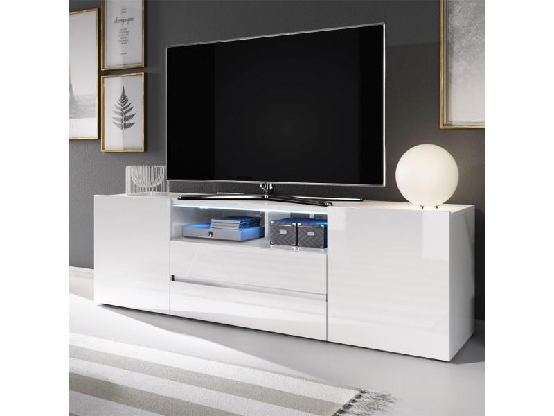 Meuble tv meuble de salon bros 137 cm blanc mat blanc brillant avec led vente de - Salon meuble tv ...