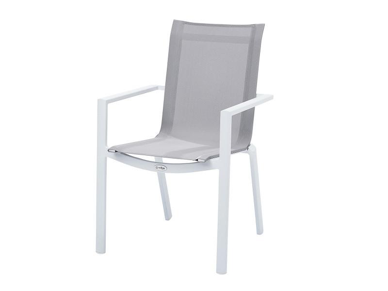 Fauteuil de jardin en aluminium blanc et textilène gris W_602030