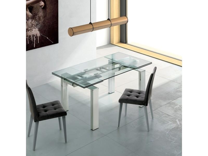 Table de salle a manger a rallonge extensible en verre suma l 90x140/210cm par zendart selection
