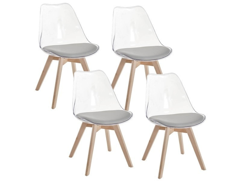 lot de 4 chaises scandinaves transparentes gris gala vente de chaise conforama - Chaises Scandinaves Transparentes