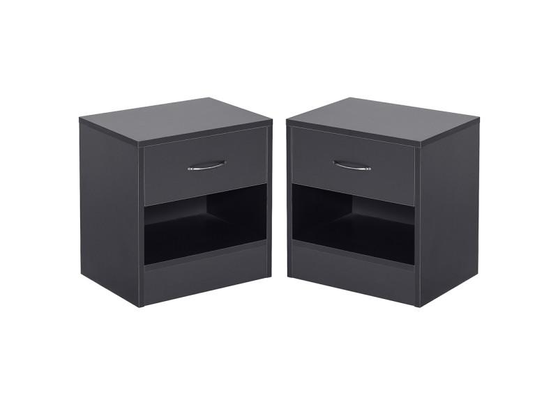 Lot de 2 tables de nuit hombuy® table de chevet - style moderne noir