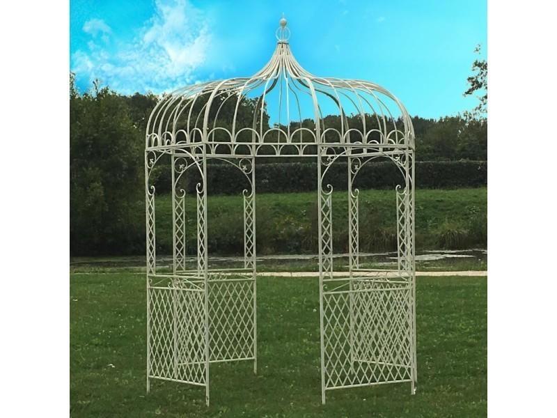 Gloriette kiosque tonnelle pergola en fer de jardin blanc ø200 cm h ...