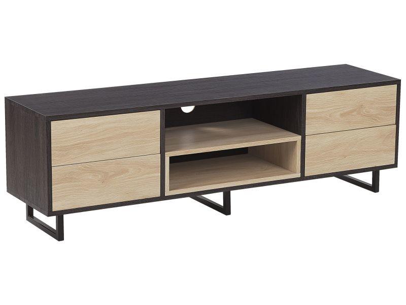 Meuble tv bois foncé et clair avec tiroirs et étagères maine 183941