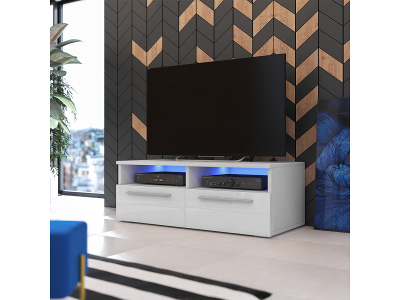Meuble tv siena avec led 100 cm blanc mat blanc brillant