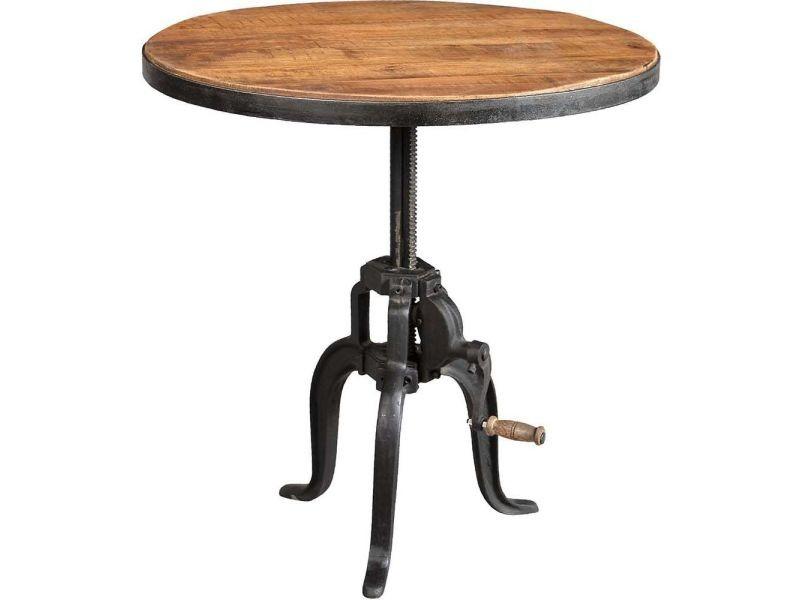 Table ronde fer forgé et bois avec manivelle