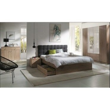 Chambre coucher compl te maxim lit adulte 160x200 cm - Chambre a coucher complete conforama ...