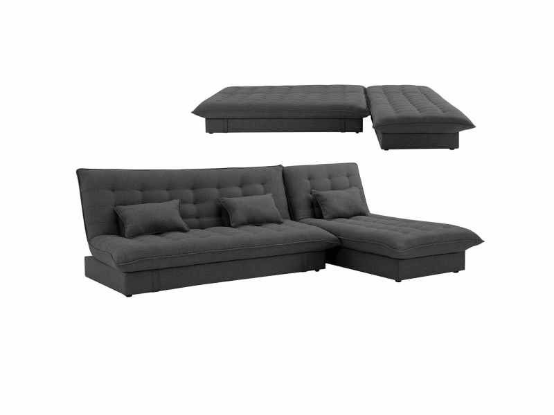 Canapé d'angle convertible modulable en tissu gris foncé barry