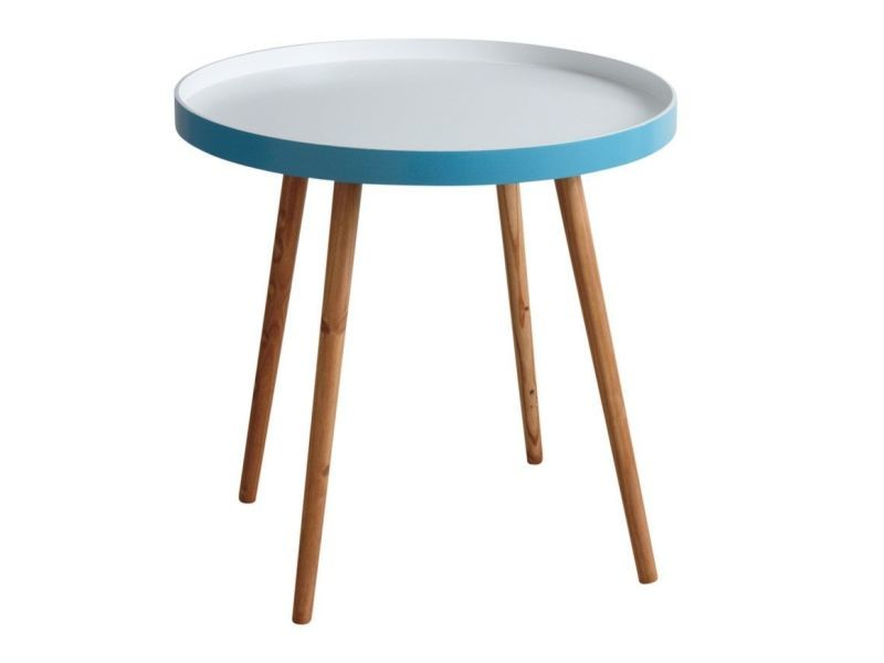 Table basse d\'appoint en bois et mdf laqué bleu - Vente de AUBRY ...