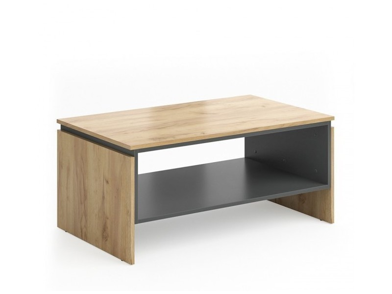 Table basse aspect chêne / anthracite 100 cm