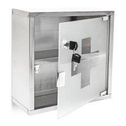 Armoire à médicaments pharmacie métal et verre avec deux clés 30 x30 cm 2013012