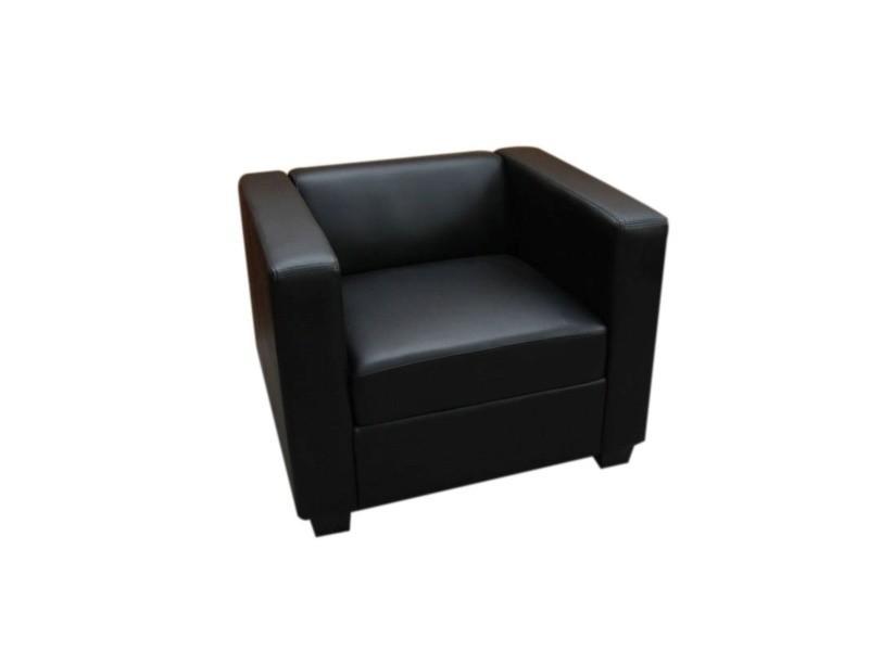 Fauteuil club / lounge lille, 86x75x70cm, cuir reconstitué, noir