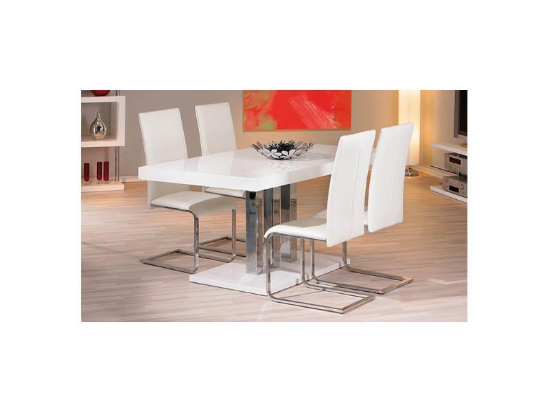 Table à manger design blanc laqué l160 cm oriane - Vente de ...