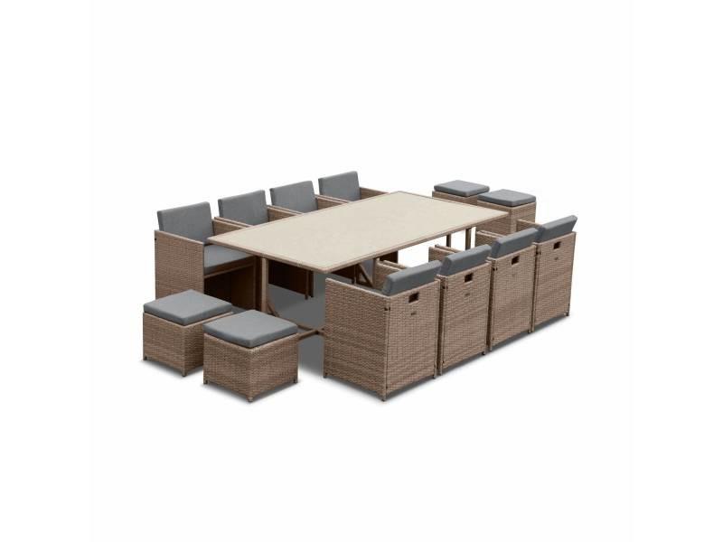 Salon de jardin 8-12 places – vabo – coloris beige. Coussins gris chiné. Table encastrable