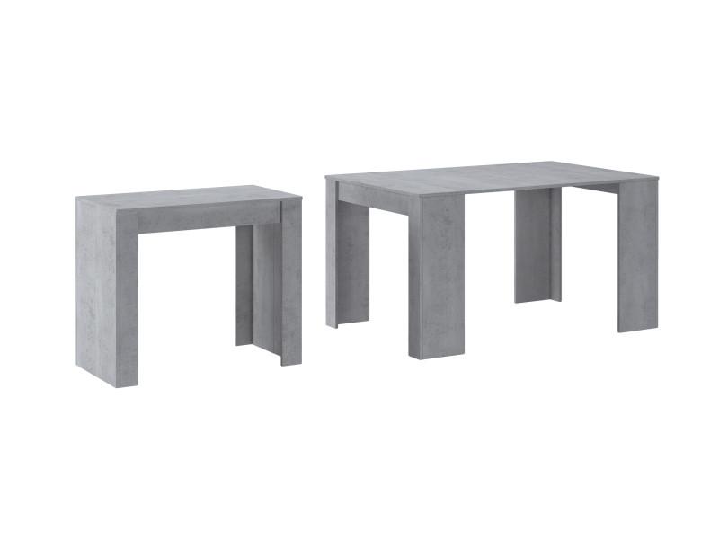 Table console extens. Jusqu'à 140 cm ciment, 90x50x78cm