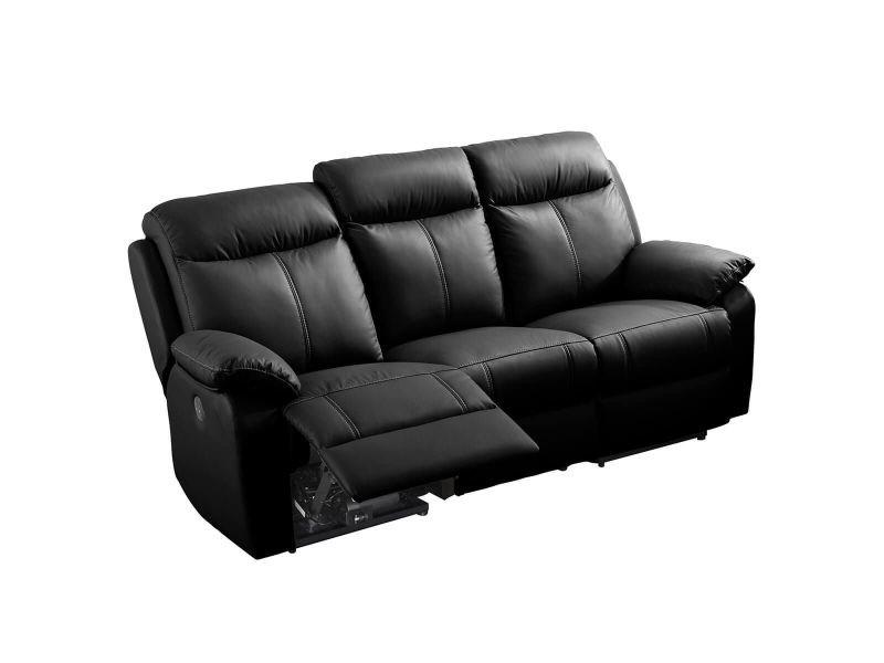 Ticory - canapé relax electrique 3 places noir