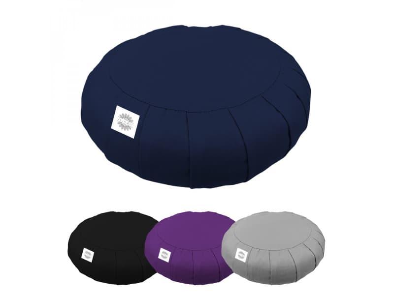 Pouf, zafu, coussin de méditation, yoga - rond - 38 x 38 x 13 cm - bleu