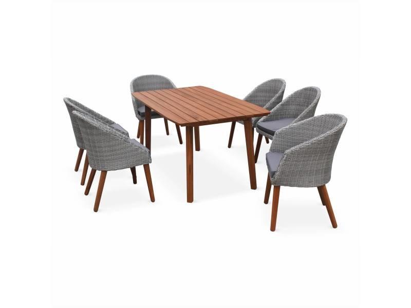 Salon de jardin huesca, design scandinave, eucalyptus fsc et ...