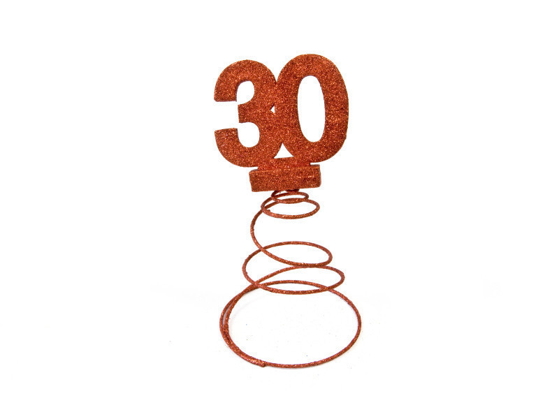 Lot de 10 centres de table pour anniversaire 30 ans - rouge pailletée