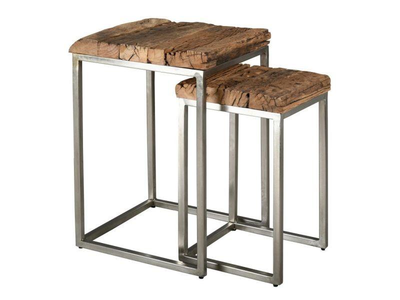 Sellettes en bois massif et acier brossé (lot de 2)