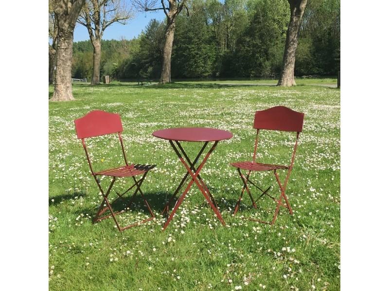 Table 2 Chaises De Jardin En Fer Pliable Salon De Jardin Bistrot Bordeau