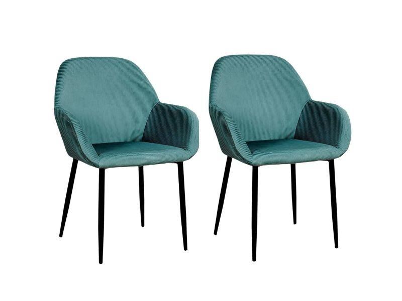 2 fauteuils de table design velours giulia - bleu canard