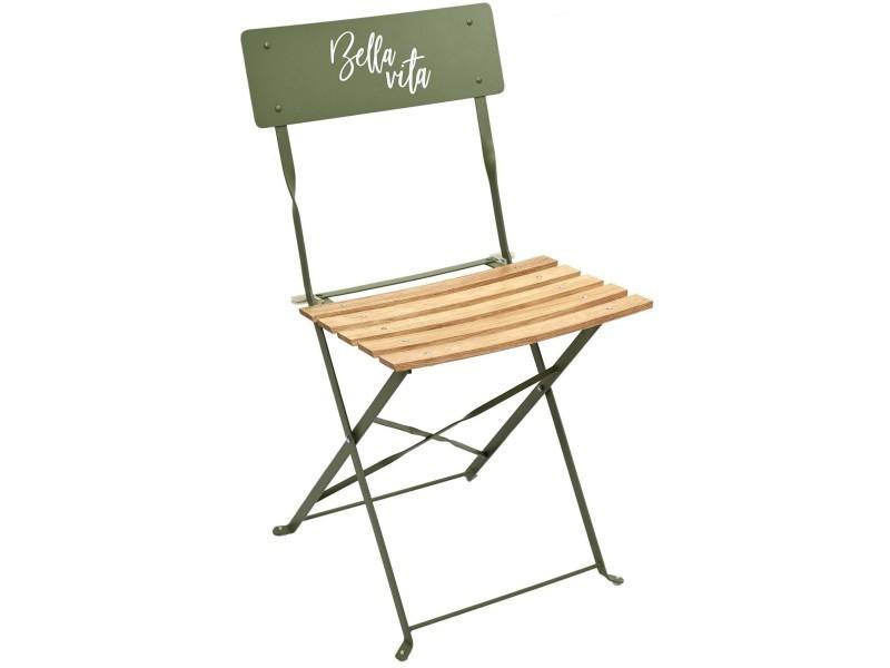 Chaise de jardin pliante bella vita vert kaki