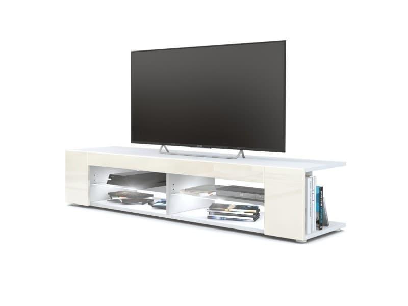 Meuble tv blanc mat façades en crème laquées led blanc