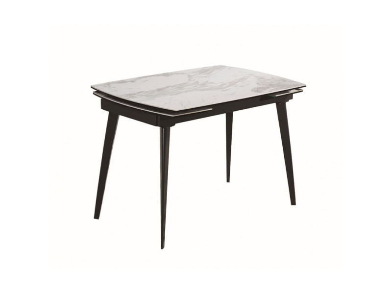 Table extensible céramique blanc marbré 120 à178 cm - florida