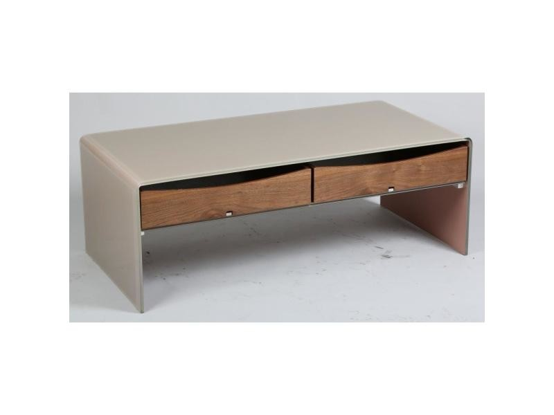 Table basse loft en verre taupe 2 tiroirs 20100841548