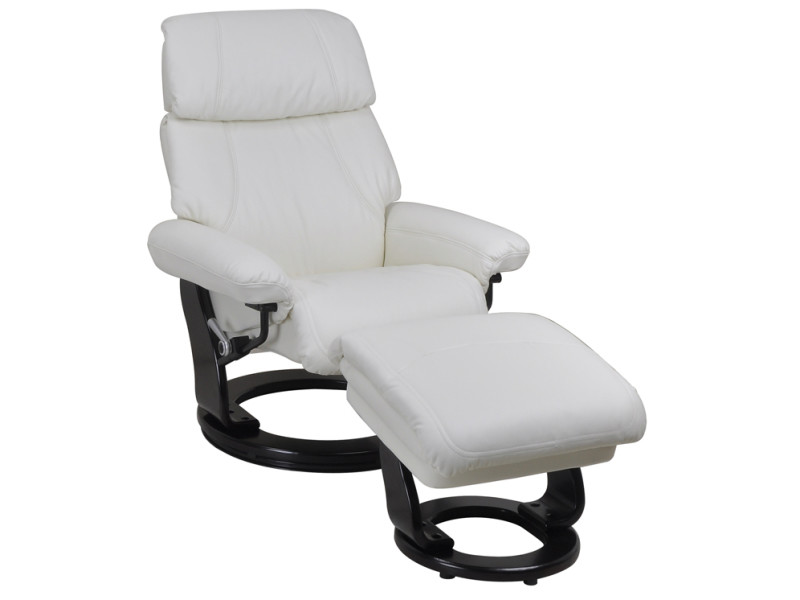 Fauteuil relax + repose pieds sens cuir blanc