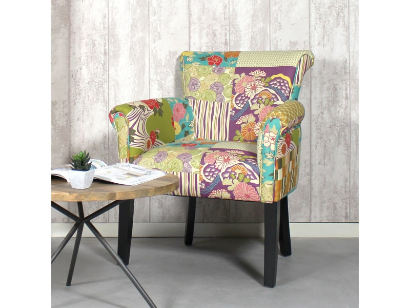 fauteuil tissu color jaune patchwork ds2025 floral. Black Bedroom Furniture Sets. Home Design Ideas