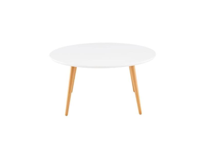 Table basse style scandinave en mdf laqué blanc brillant - l 80 x l 80 cm