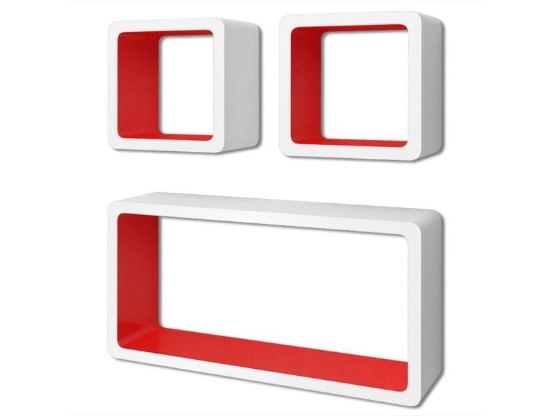 Vidaxl 3 etagères cubes murales et en mdf blanc-rouge pour dvd/livres 242165