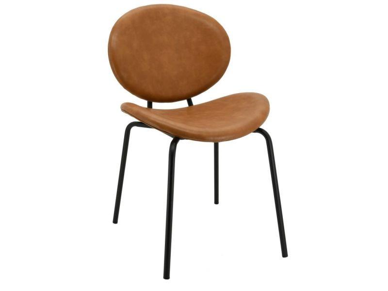 Chaise design en simili cuir et métal camel