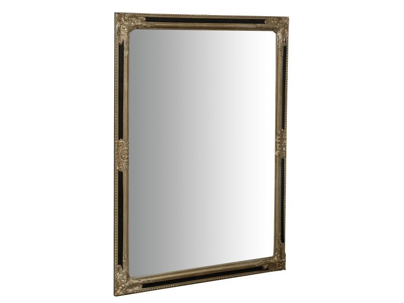 Miroir, long miroir mural rectangulaire, à accrocher au mur, horizontal et vertical, shabby chic, salle de bain, chambre, cadre finition or antique, grand, long, l90xp3xh120 cm. Style shabby chic.