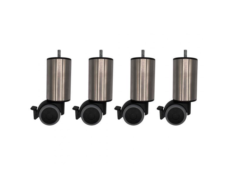 4 pieds cylindriques inox à roulette pivotante et frein 15 cm