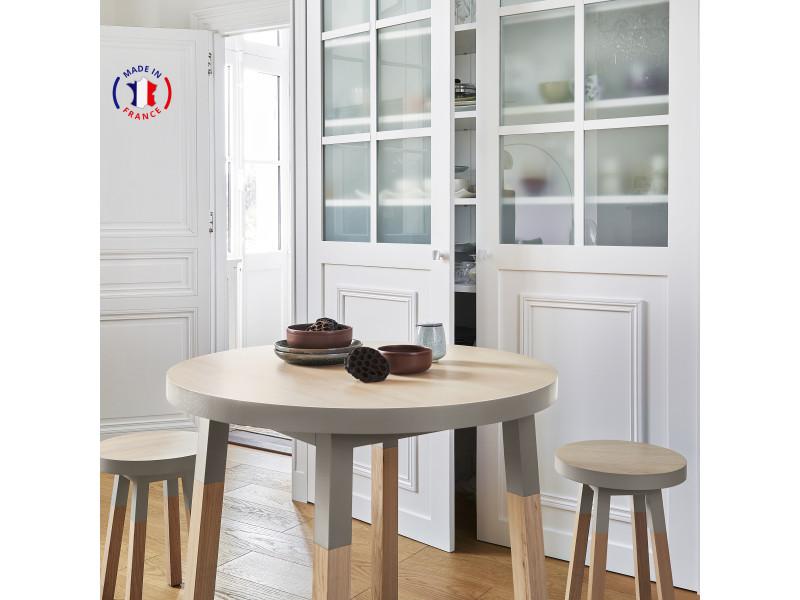 Table ronde 100% frêne massif 90x90 cm gris muscade - 100% fabrication française
