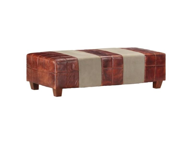 Stylé fauteuils et chaises selection vatican banc 2 places marron foncé et gris cuir véritable de chèvre