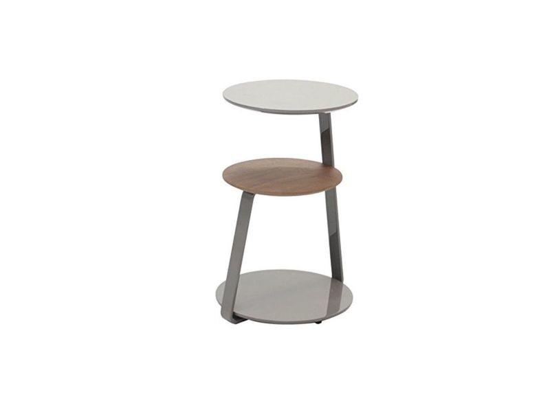 Table d'appoint plaquage noyer et laque gris 34*h60 cm